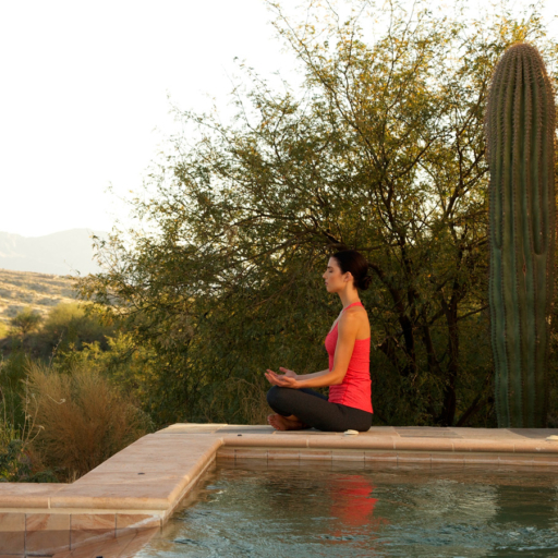 woman meditating outside in tucson, arizona