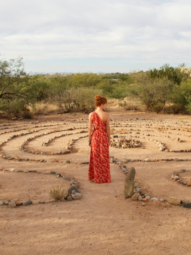 woman overlooking the mirror of the soul experience at miraval arizona resort & spa