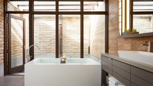 modern suite bathroom at miraval arizona resort & spa