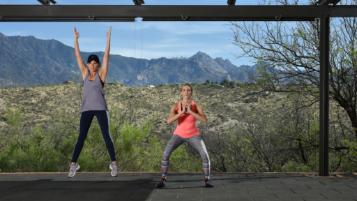 women squatting and exercising at miraval arizona resort & spa