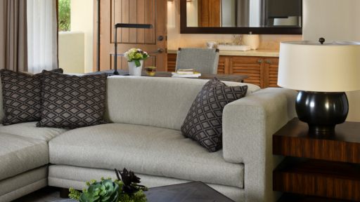 relaxing couch in the private patio room at miraval arizona resort & spa