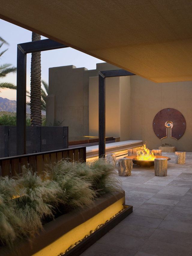 fireplace warming the spa entrance at miraval arizona resort & spa