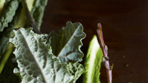 fresh leafy greens with water droplets