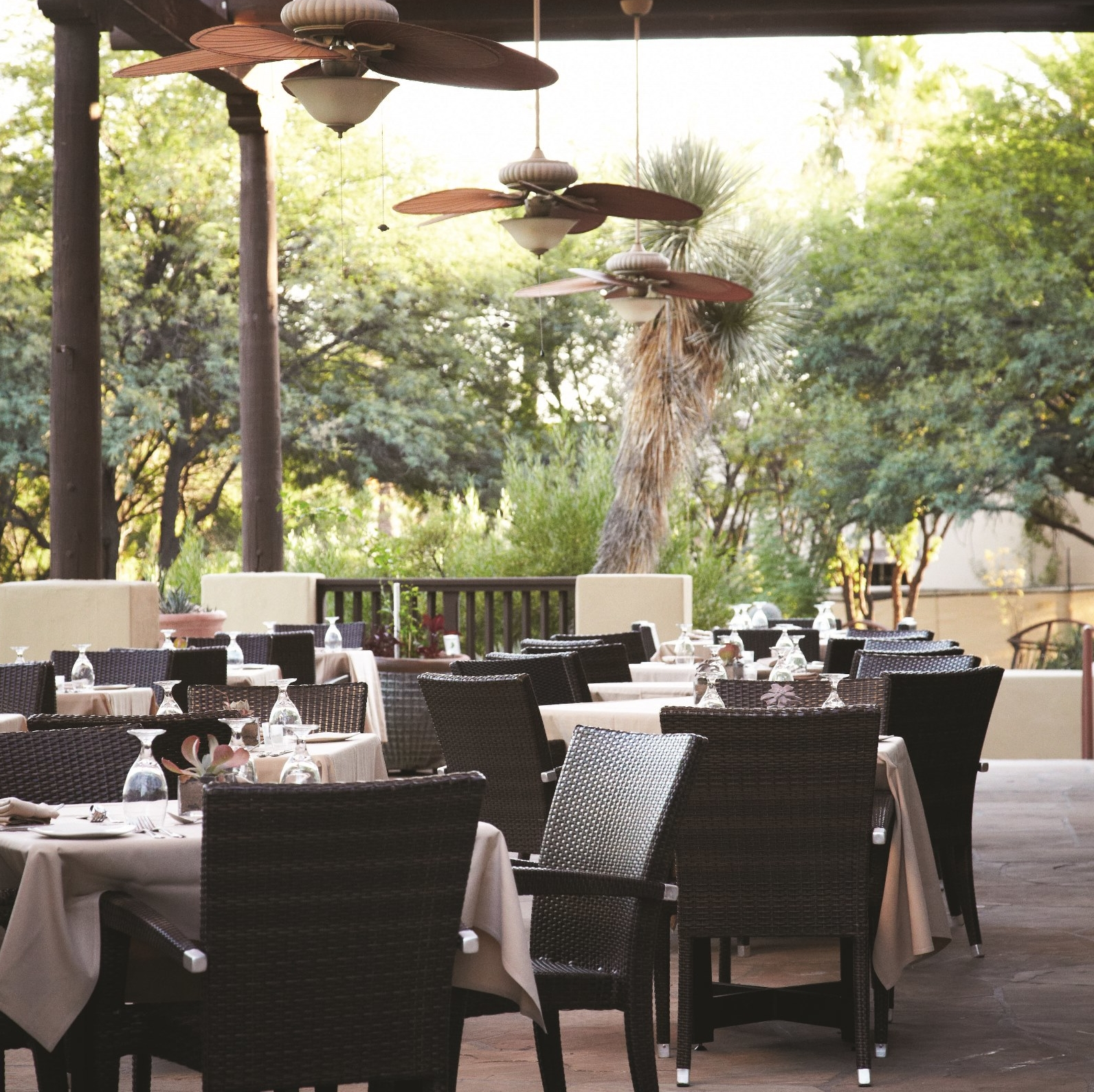 outdoor dining in an elegant setting and under a covered awning