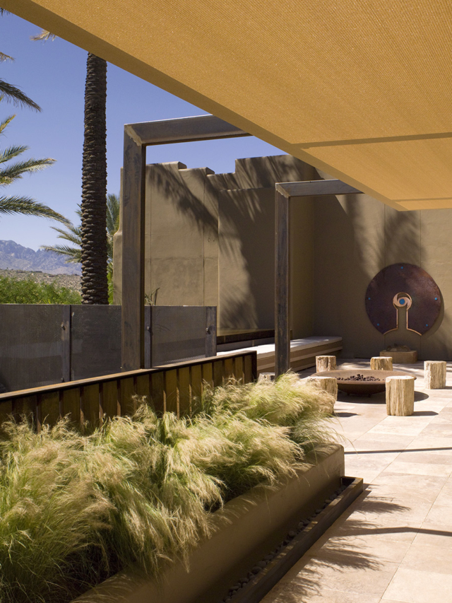 desert grasses blowing in the breeze outside the entrance to the spa