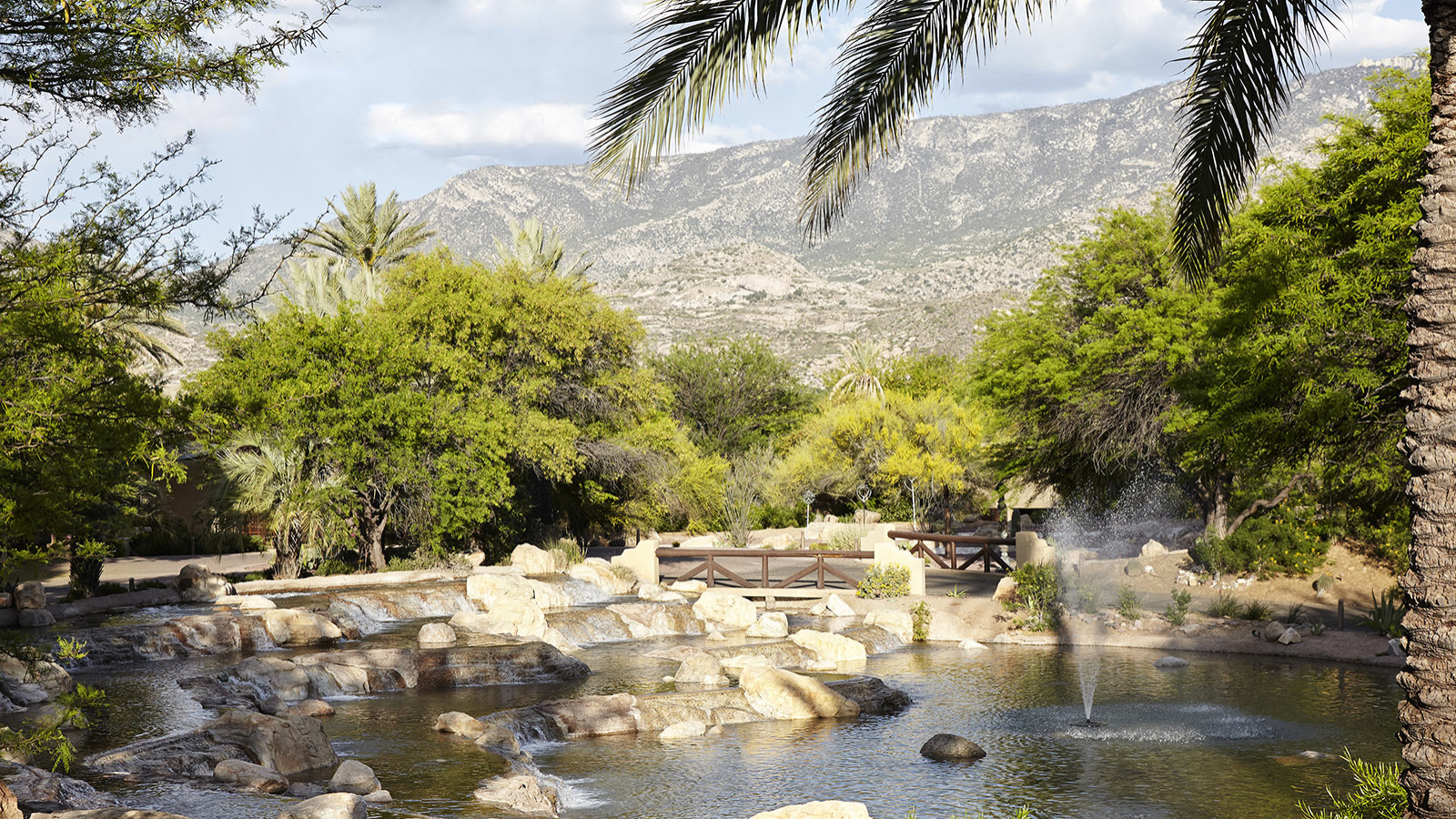 rock pond with fountain at miraval arizona resort & spa
