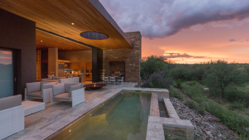 Sunset view from patio of villa at Miraval Arizona Resort.