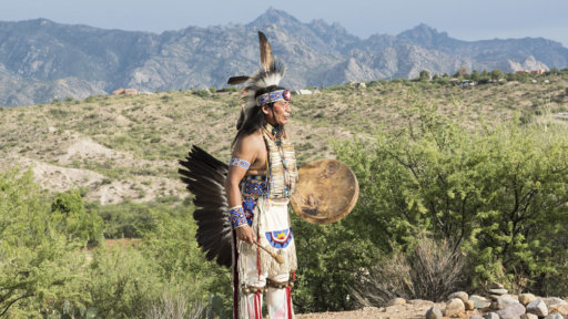 tony redhouse demonstrating native american rituals