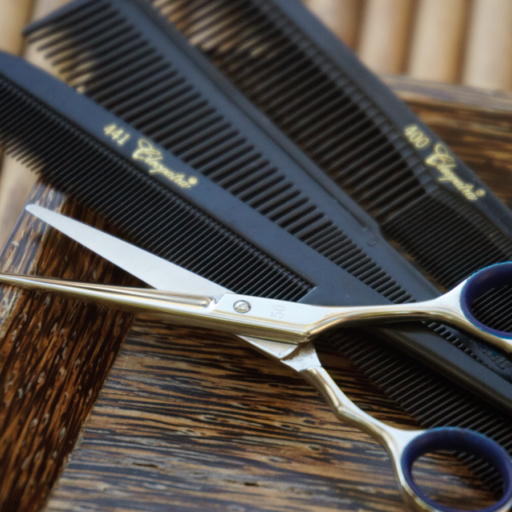 different combs and hair-cutting scissors
