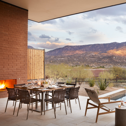 outdoor covered dining area with a mountain view