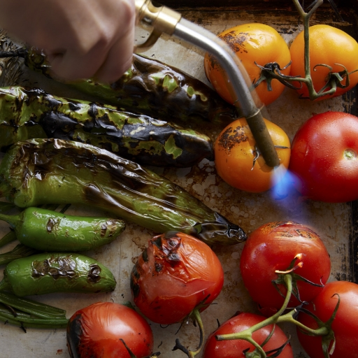 fire-roasting tomatoes and peppers