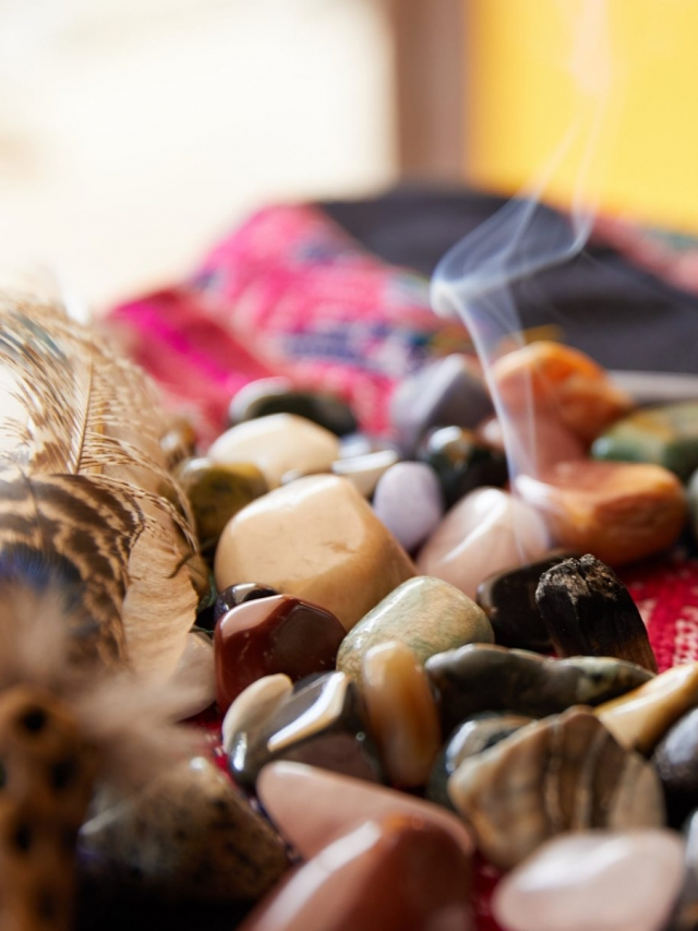 incense burning amongst rocks