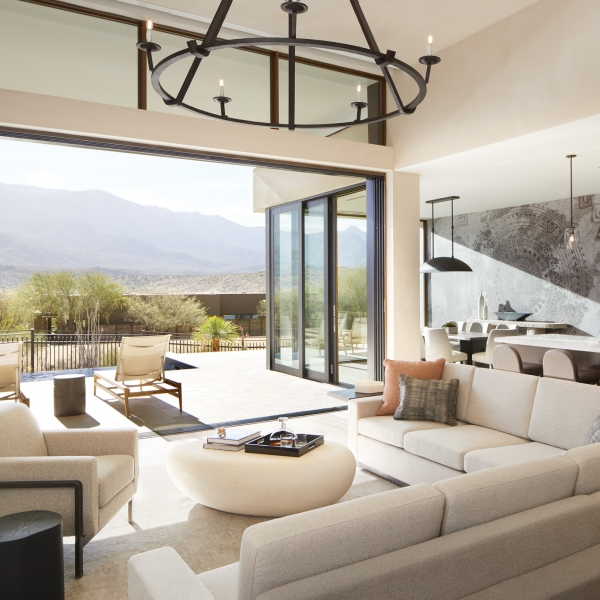 view of mountains from the living room of a private villa at miraval arizona