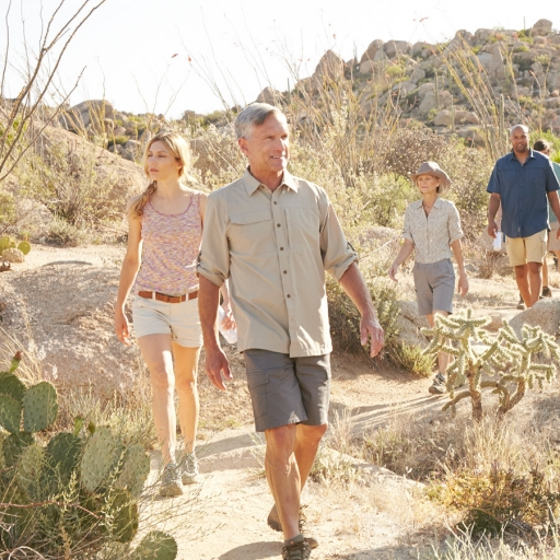 group hiking in the desert of tucson, arizona