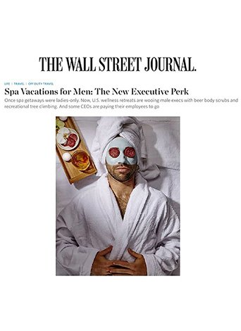 Screenshot of Wall Street Journal article on Spa Vacations for Men.
