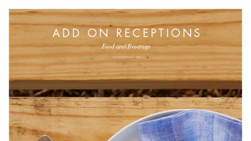 Cover for add on receptions menu for food and beverage at Miraval Arizona.