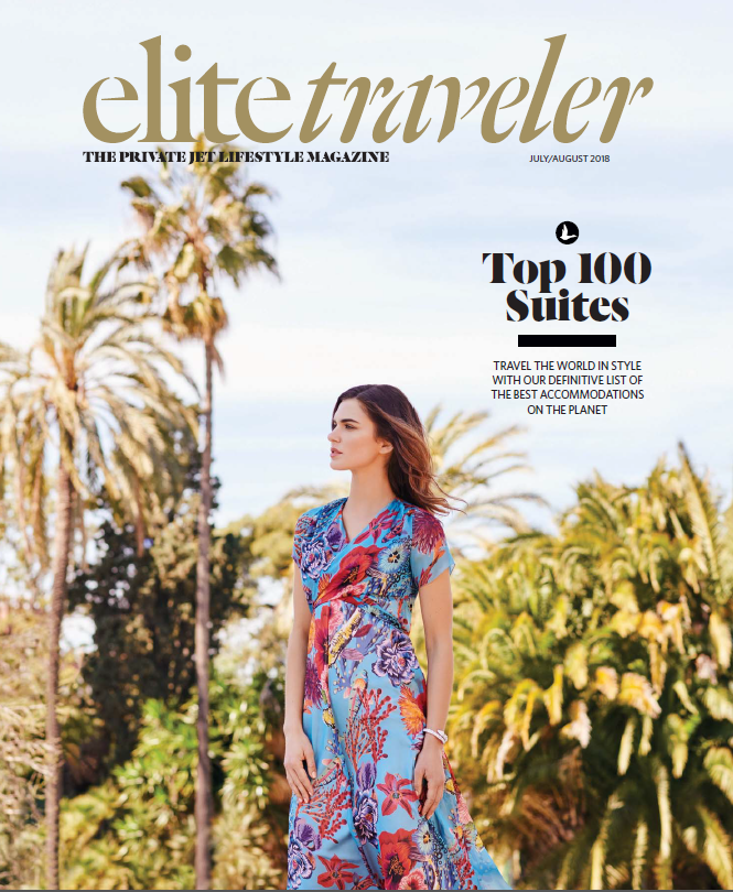 Cover of Elite Traveler magazine for July and August 2018.
