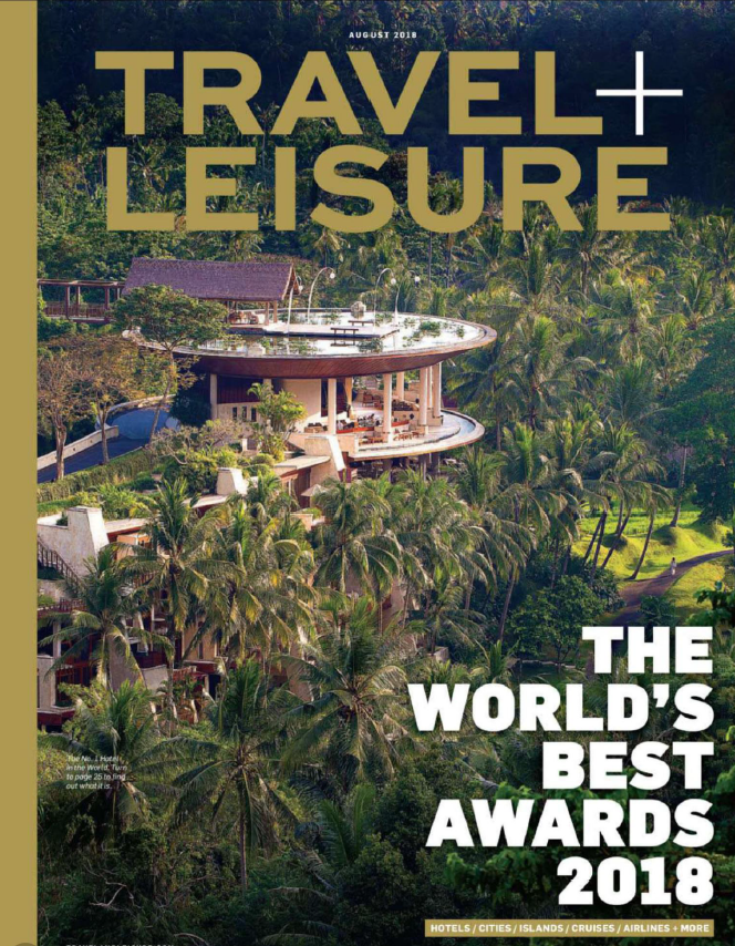 Cover of Travel + Leisure magazine for August 2018.