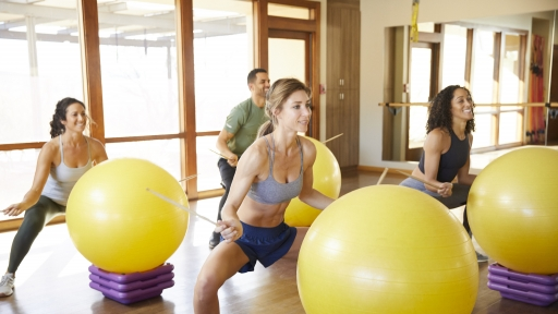 Group exercise class with stability balls at Miraval Arizona.