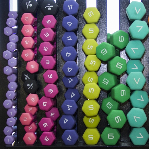 Dumbbells stacked up in the fitness center at Miraval Arizona.