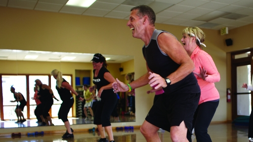 group in cardio fitness class