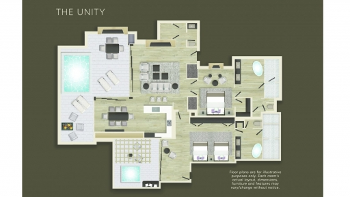 Floor plan of The Unity suite at Miraval Arizona.
