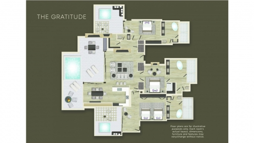 Floorplan of The Gratitude Villa at Miraval Arizona.
