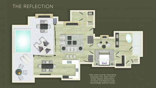 Floor plan of The Reflection Suite at Miraval Arizona.