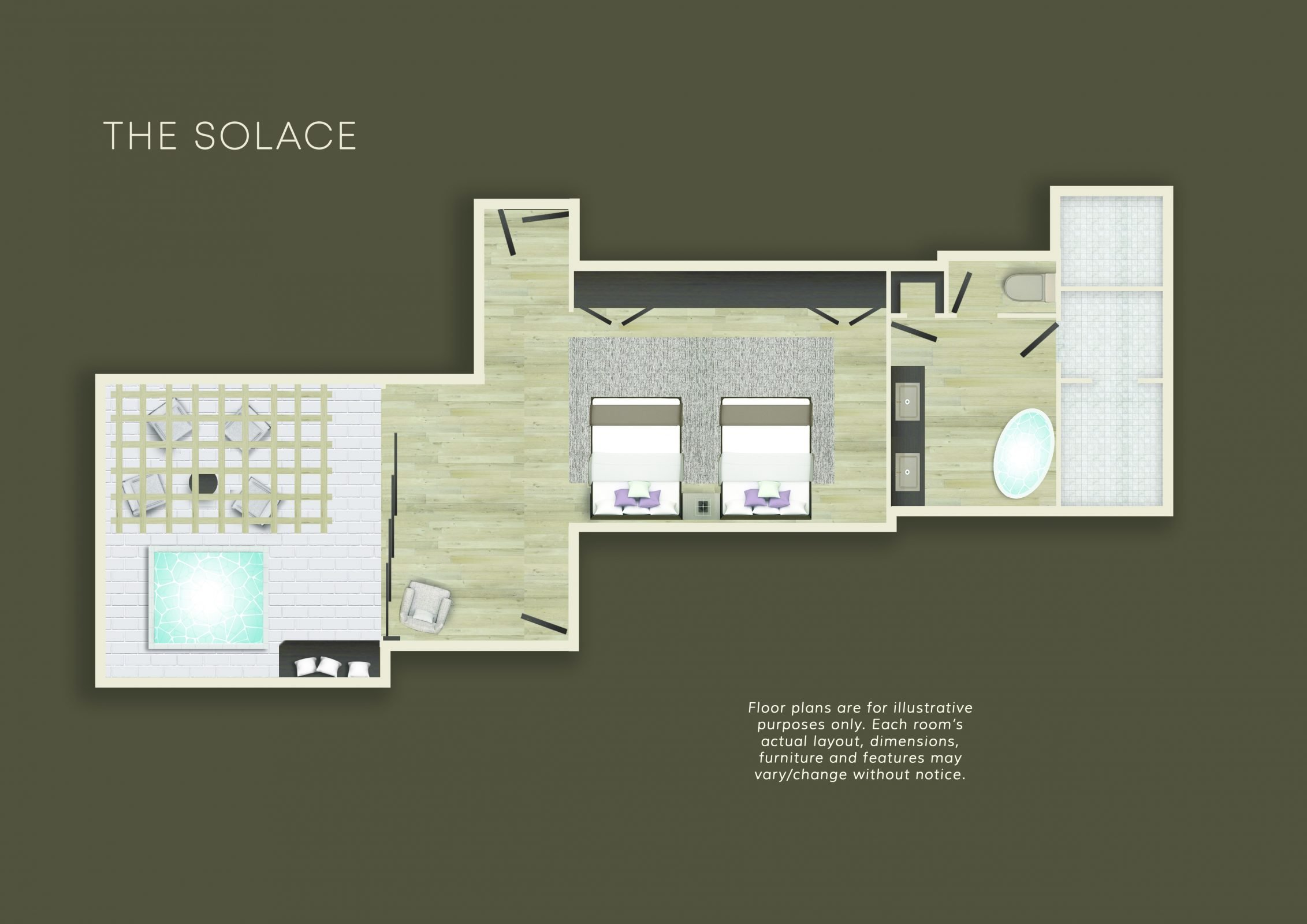 Floorplan for The Solace suite at Miraval Arizona.