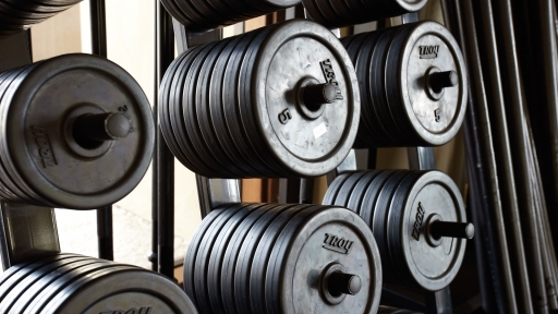 Close up of barbell weights stacked at Miraval Arizona.