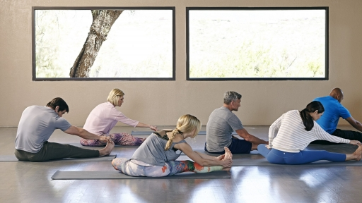 group of people stretching on yoga mats