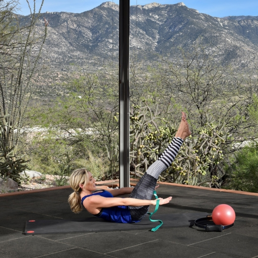 engaging core exercises while looking out at the desert