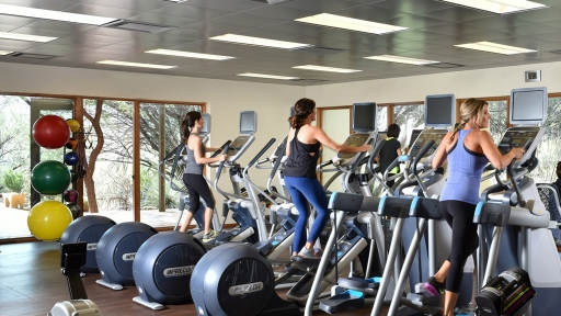 group of women exercising on elliptical machines
