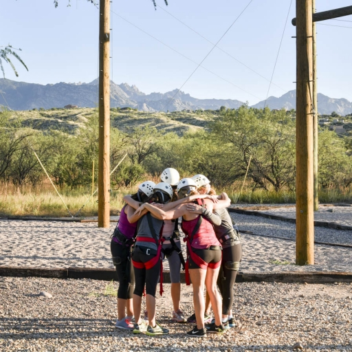group of adventurers at the challenge course