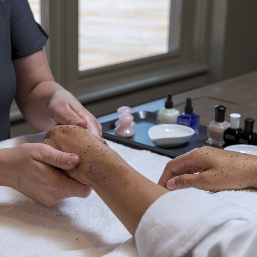 Woman getting her hands massaged at our spa resort in Tucson