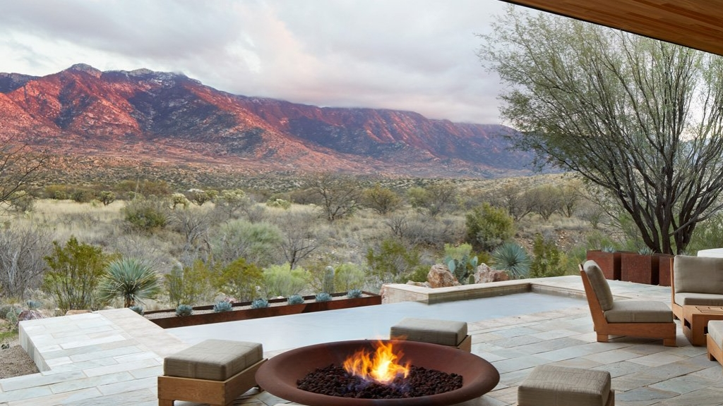 patio firepit surrounded by mountain view