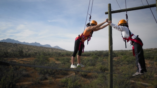 challenging rope course over the desert