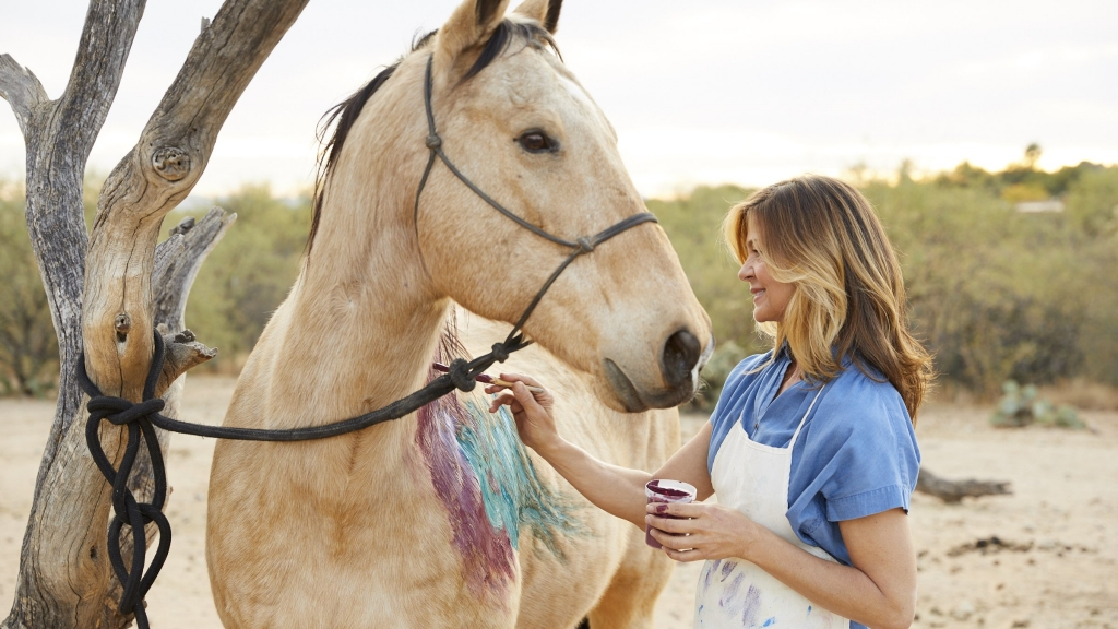 woman painting a horse